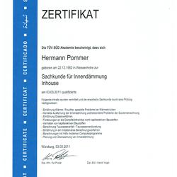 Zertifikat für Innendämmung