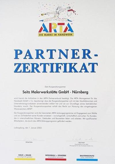 Arta Partnerzertifikat